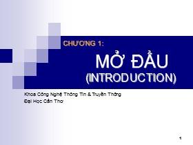Bài giảng Lập trình hướng đối tượng C++ - Chương 1: Mở đầu